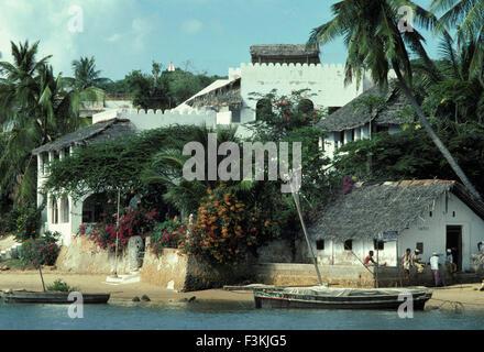 waterfront of Lamu Island Kenya East Africa - Stock Photo