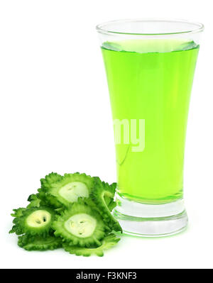 Herbal juice of green momodica over white background