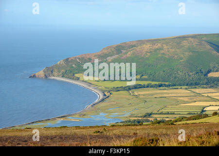 Porlock Marsh with Hurlstone Point & Bossington Hill viewed from Porlock Hill - Stock Photo