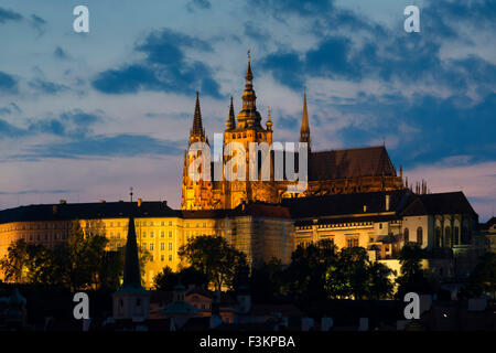 St. Vitus's cathedral and Prague Castle Dusk - Stock Photo