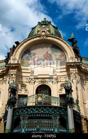 Homage to Prague, Municipal House, Old Town Prague, Czech Republic - Stock Photo