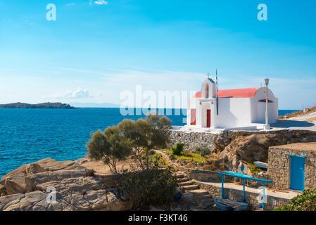 small greek orthodox chapel at the seaside in mykonos