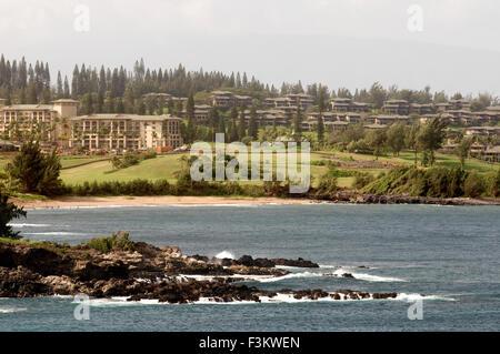 Landscape between Kahakuloa y Honokohau. Maui. Hawaii. Kahakuloa head and the smaller Pu'u Kahlui-anapa as seen - Stock Photo