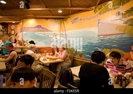 Cheeseburger in paradise restaurant. waikiki. Hawaii. USA. Cheeseburger in Paradise is a casual dining restaurant - Stock Photo