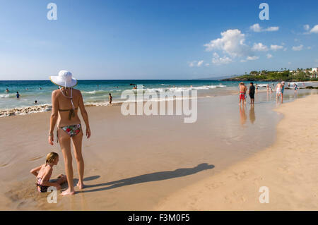 Hapuna Beach, one of the 100 best beaches in the world as ranked by some of the guidebooks. Big Island. Hawaii. - Stock Photo