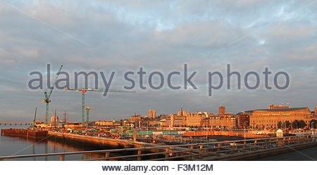 Victoria and Albert Design Museum Construction site at dawn Dundee Scotland  October 2015 - Stock Photo