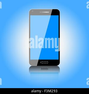 Black mobile phone with shiny blue screen on a shiny blue background - Stock Photo