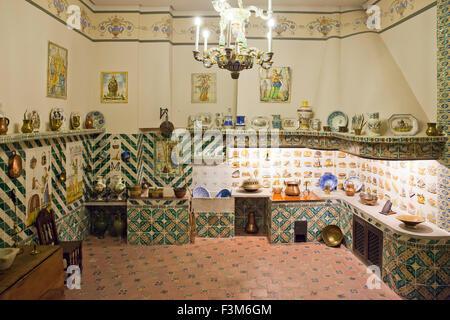 Vintage Spanish Kitchen, National Museum of Ceramics and Decorative Arts, Valencia, Spain - Stock Photo