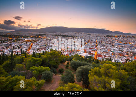 Morning view of Athens from Filopappou hill, Greece. - Stock Photo