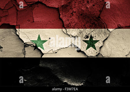 flag of Syria painted on cracked wall - Stock Photo