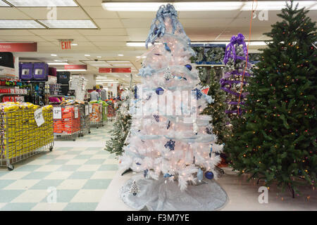 Seasonal Christmas display in a KMart store in New York on Tuesday, October 6, 2015.  According to multiple surveys - Stock Photo