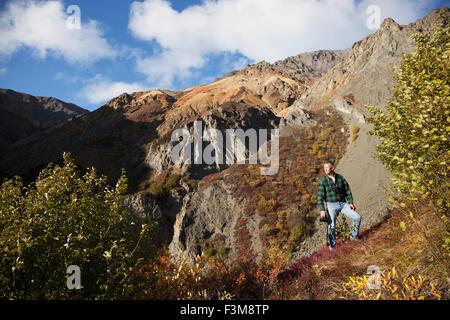 Man,Alaska,Sheep Mountain,Talkeetna Mountains - Stock Photo