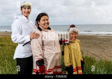 Portrait of Yupik Native Alaskan girls near Kwethluk ...