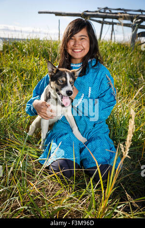 Girl,Portrait,Husky,Alaska,Real People - Stock Photo