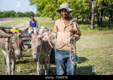 Man,Portrait,Donkey,Botswana - Stock Photo