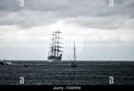 Tall Ship Dar Modziey at sea approaching IJmuiden Harbor for SAIL Amsterdam 2015 - Stock Photo