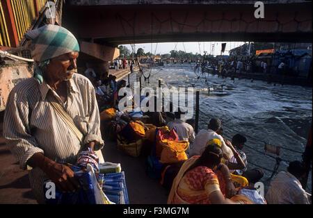Hindu pilgrims at the Ardh Kumbh Mela religious festival in Haridwar in India. Haridwar, Uttaranchal, India. One of the most fam