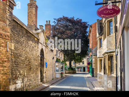 Maiden Lane in the town centre, Stamford, Lincolnshire, England, UK