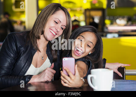 Girl,Canada,Mother,Daughter,Mall,selfie - Stock Photo