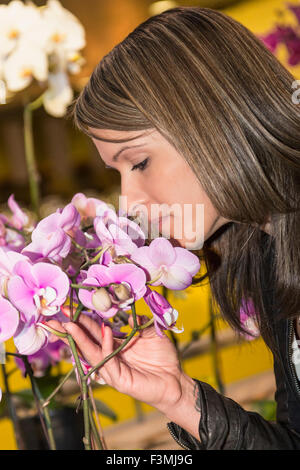 Canada,Smelling,Woman,Flower,Shopping Mall - Stock Photo