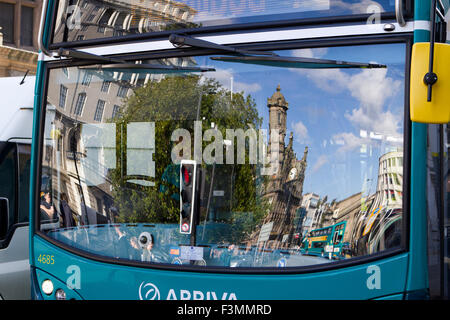 Reflections of Liverpool in Arriva Bus, Merseyside, UK - Stock Photo