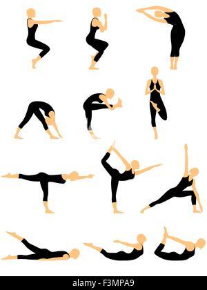 yoga vector set figures yoga poses ashtanga yoga stock