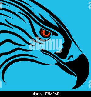 Head of eagle with massive beak and orange eye over blue background, vector artwork - Stock Photo