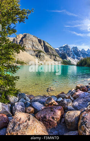 Another impressive view of iconic Moraine Lake in Banff. - Stock Photo