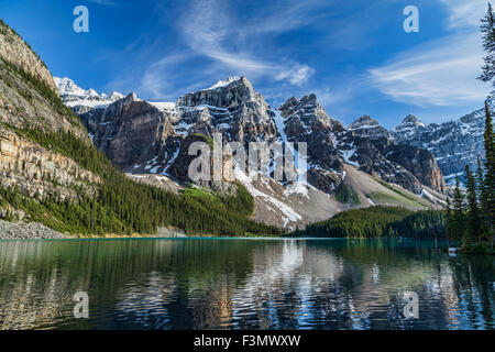 One of the many iconic views of Moraine Lake in Banff. - Stock Photo