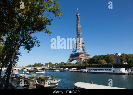 Eiffel Tower and River Seine in Paris - Stock Photo