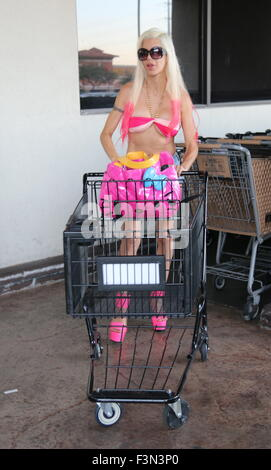 Angelique 'Frenchy' Morgan shows off her new hot pink hair as she runs errands in Las Vegas while driving her famous - Stock Photo