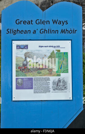 GREAT GLEN WAY OR TRAIL LAGGAN TO FORT AUGUSTUS SCOTLAND BOARD WITH INFORMATION ABOUT THE DISUSED RAILWAY LINE - Stock Photo