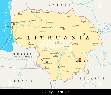 Lithuania political map with capital Vilnius, national borders, important cities, rivers and lakes. English labeling - Stock Photo