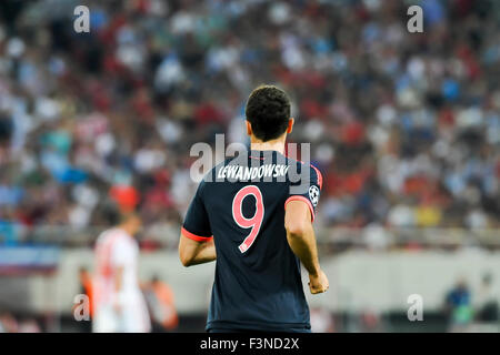 Athens, Greece- September 16, 2015: Robert Lewandowski during the UEFA Champions League game between Olympiacos and Bayern,