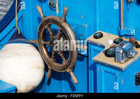 steering position on boat. Norfolk Broads England UK - Stock Photo