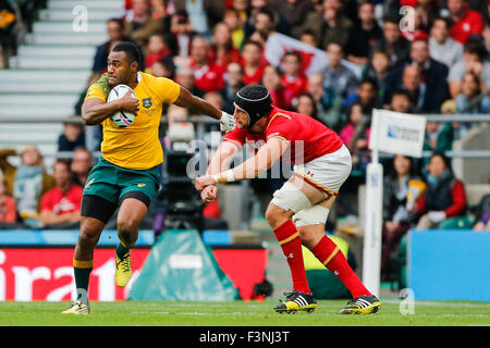 Twickenham Stadium, London, UK. 10th Oct, 2015. Rugby World Cup. Australia v Wales. Tevita Kuridrani of Australia - Stock Photo