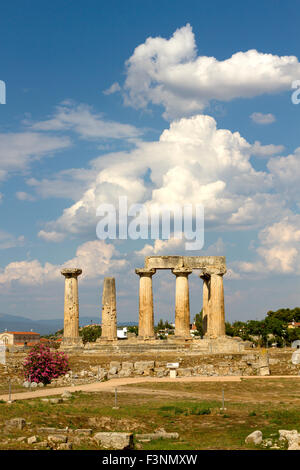 The ancient temple of Apollo, in ancient Corinth, Greece. - Stock Photo