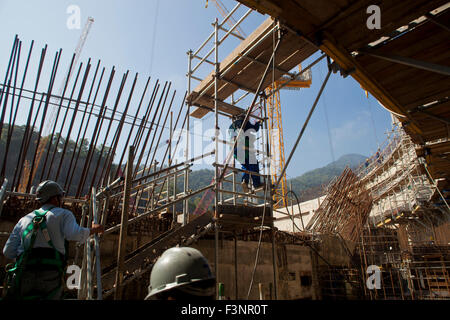 Workers at the construction of Angra 3 Nuclear Plant, Angra dos Reis, Rio de Janeiro State, Brazil. - Stock Photo