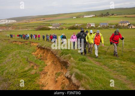 Isle of wight Walking Festival. 2015. large number of walkers ramblers on The War Horse walk at Brook Bay  car park - Stock Photo