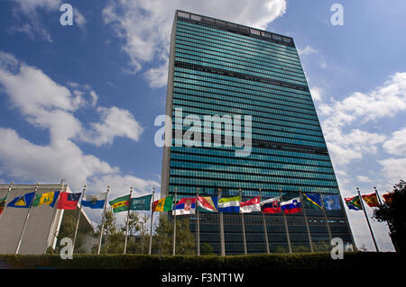 Building of the United Nations Headquarters in Lower Midtown. Between the 42nd and 48th Street at 1st Avenue. (Guided - Stock Photo