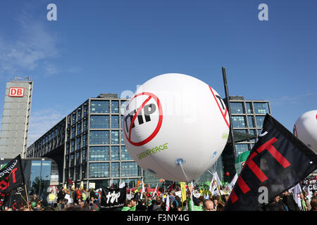 Berlin, Germany, 10th October, 2015: 100.000 protesters held rally against TTIP, USA EU free trade agreement. Credit: - Stock Photo