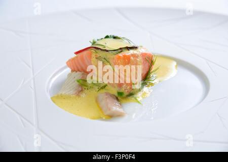 Nouvelle cuisine gourmet salmon fish dish - Stock Photo