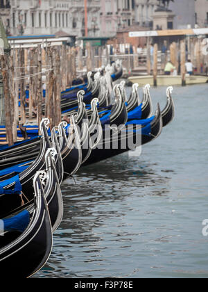 Gondola's parked on the Grand Canal, Venice - Stock Photo