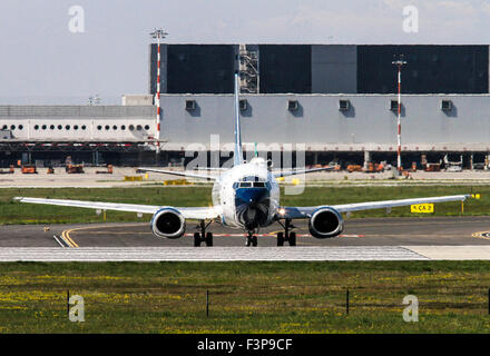 Blu-Express Boeing 737-31S. Photographed at Linate airport, Milan, Italy - Stock Photo