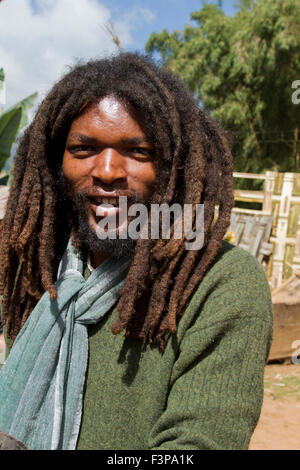 Africa, Ethiopia, Omo region, Chencha, Dorze village. Portrait of young man in modern clothes - Stock Photo