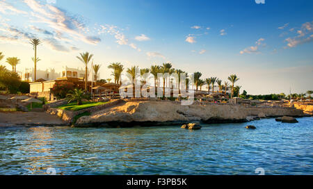 View on egyptian hotel from the red sea - Stock Photo