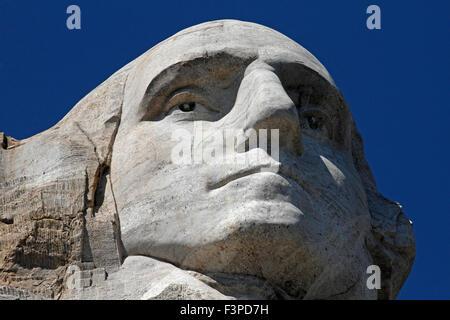 Closeup of George Washington on Mount Rushmore - Stock Photo