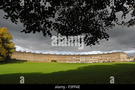 The Royal Crescent at Bath in UK classic panoramic view - Stock Photo