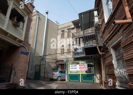 Old town architecture in Tbilisi, capital of Georgia - Stock Photo