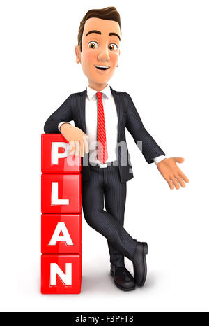3d businessman leaning against dices with the word plan, isolated white background - Stock Photo